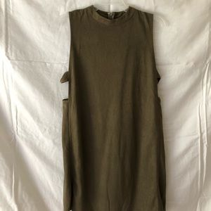 Olive suede effect dress